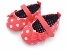 Baby Girl Cute Polka Dot Canvas First Walker Shoes UK Size1 2 3(3 6 9 12M)