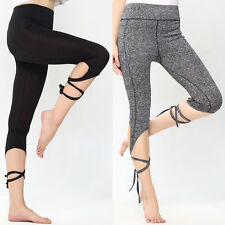 Womens Sports Gym Yoga Workout Cropped Leggings Fitness Lounge Athletic Pants