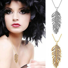 Bohemian Fashion Charming Chains The Wings of Love Leaf Pendant Crystal Necklace