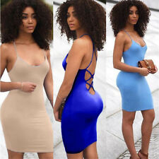 Womens Sexy Backless Strappy Skirt Evening Cocktail Party Package Hip Dress