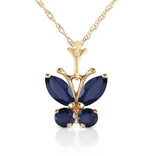14K. GOLD BUTTERFLY NECKLACE WITH NATURAL SAPPHIRES