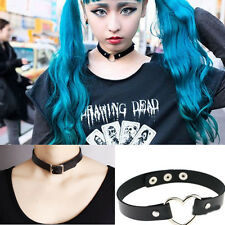 Women Girl Buckle Collar Gothic Leather Heart Chain Spike Rivet Choker Necklace