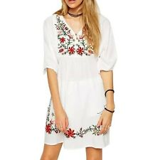 Women Mexican Ethnic Embroidered Hippie Blouse Gypsy Boho Mini Dress