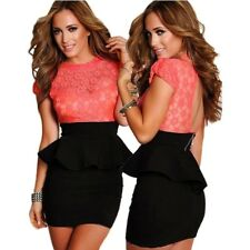 Coral Floral Lace Peplum DressWomen Club Wear Dress Bodycon Casual Dresses
