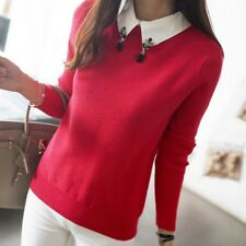 Women Spring Autumn Winter Turn-down Collar Beaded Sweater Base Pullover Sweater
