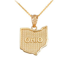 10k Yellow Gold Ohio State Map United States Pendant Necklace