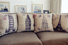 Vintage Famous Buildings Postcard Cotton Linen Throw Pillow Case Cushion Cover