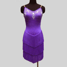 Latin Salsa Cha Cha Rumba Samba Ballroom Competition Tassel Dance Dress 10 Color