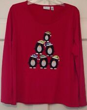 Womens Tops Red Kim Rogers Penguins or Snowman Hats Sequins Embroidery NWT S