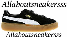 Puma Suede Platform Core Black-Star White-Oatmeal  - Women Shoes 363559-02