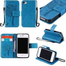 Wallet PU Leather Book Stand Case Cover Skin For APPLE SAMSUNG Phones Blue