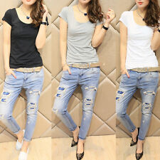 Fashion Womens Crop Tops Cropped Scoop Neck T-Shirt Short Sleeve Casual Blouse