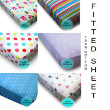 1000 Cotton KIDS FITTED SHEET.. Gypsy Girls Boys Pink, Blue, Stars, Multicolored