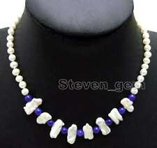 6-7mm Natural White round pearl & Biwa Pearl & 6mm Blue Jade 17'' Necklace-6127
