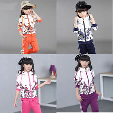 Kid Girls Set Coat +Pants Fashion Foral Sports Hooded Suits Baby Clothes 2 Piece