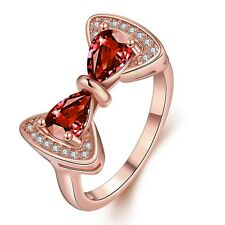 Fashion 18K Yellow Rose Gold Plated Crystal Red Ruby Bowknot Band Ring Jewelry