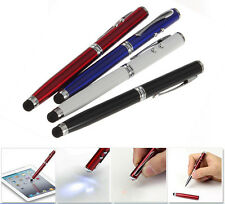 4in1 LED Laser Pointer Torch Touch Screen Stylus Ball Pen for iPhone 5 6 7 iPad