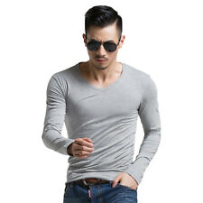 Cotton Men T-Shirt Long Sleeve Slim Fit Tee Top V-Neck O-Neck Clothes Casual New
