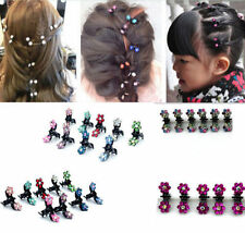 12PCS Lots Girls Sweet Rhinestone Crystal Flower Mini Hair Claws Clips Clamps