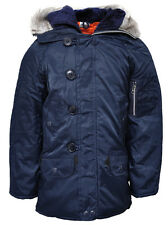 Boys Coat Anorak Faux Fur Lined Snorkel Hood NAVY Blue Parka Kids 3 to 11 Years