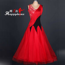 Women's  Latin Waltz Tango Flamenco Ballroom Tassel Competition Dance Dress M056