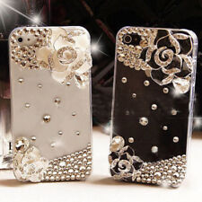 5 Pair 3D Alloy Bling Camellia DIY Crystal cell For iPhone Case Shell Deco Kit