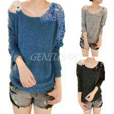 Women's Sexy Knit Hollow Lace Flower Long Sleeve Boat Neck Loose Tops Sweater