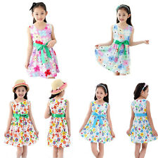 Girl Summer Flower Girl Dresses Sleeveless Casual Princess Dress Kids Clothes