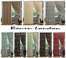 LUXURY JACQUARD CURTAIN PENCIL PLEAT,TAPE TOP FULLY LINED READY MADE TIEBACKS