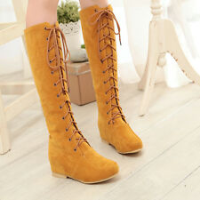 2017 Women Suede Lace Up Low Wedge Inside Knee High Boots Warm Winter Boots Shoe