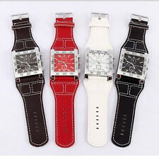 Mens Watches Women Leather Band Attractive Square Dial Analog Wrist Watch Quartz