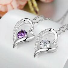 Pendant  Heart Shaped Chain Silver Lovely Necklace New Women Austrian Crystal
