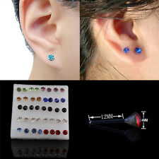 CRYSTAL RHINESTONE EARRINGS CLEAR 20 PAIRS MULTICOLOR WOMEN ALLERGY EAR STUDS