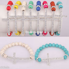 Fashion Turquoise&Crystal Beads Sideway Crystal Cross Elastic Bracelet Jewelry
