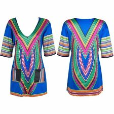 Women Tranditional African Print Sexy V-neck Summer Indian T Shirt vintage Dress
