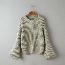 Women Flare Long Sleeve Sweaters O-neck Short Style Sweater Knitting Pullovers