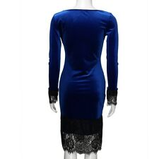 Women Lace Patchwork Bodycon Dress With Sleeves O-neck Long Sleeve Short Dress