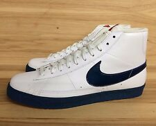 NIKE BLAZER HIGH WHITE BLUE FORCE VARSITY RED LEATHER MEN SZ 12   316664-141   L