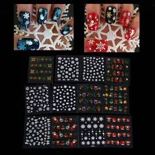 12 Sheet Cute Nail Art Sticker Christmas Snowflake Xmas 3D Decal Tips Decoration