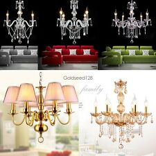 European Style 3/4/5/6 Light Crystal Chandelier Dining Room Hallway 3 Colors