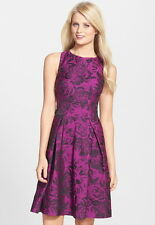 NWT $188 Betsey Johnson Floral Jacquard Party Dress Plum w Black Roses 4 6