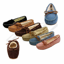 NEW Tamarac Blitz Women's Molly Moccasin Leather Indoor/Outdoor Sole Slippers