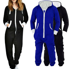 Womens Plain Onesie Ladies All in One Hooded Zip Up Jumpsuit Playsuit Size S-2XL