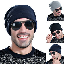 Fashion Unisex Men Winter Warm Knit Fleece Line Beanie Ski Skull Slouchy Cap Hat