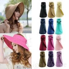 Women Ladies Summer Wide Brim Roll Up Foldable Sun Beach Straw Visor Hat Cap HOT