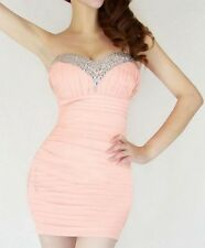 Womens Strapless Mini Prom Party Ball Dress Lady