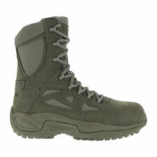 Reebok Mens Sage Green Suede Tactical Boots Rapid Response RB Side Zip
