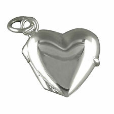 "925 Sterling Silver Heart Locket Pendant  also with 16"", 18"", 20"" Box Chain A&B"