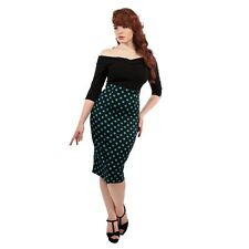 Collectif Fiona Polka Dot Print Skirt 1950s Style Rockabilly PinUp Pencil Skirt