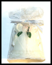 WEDDING BELL CANDLE,  PINK ROSES GREEN LEAFS SILVER BOW & LACE NEW - LOT OF 5